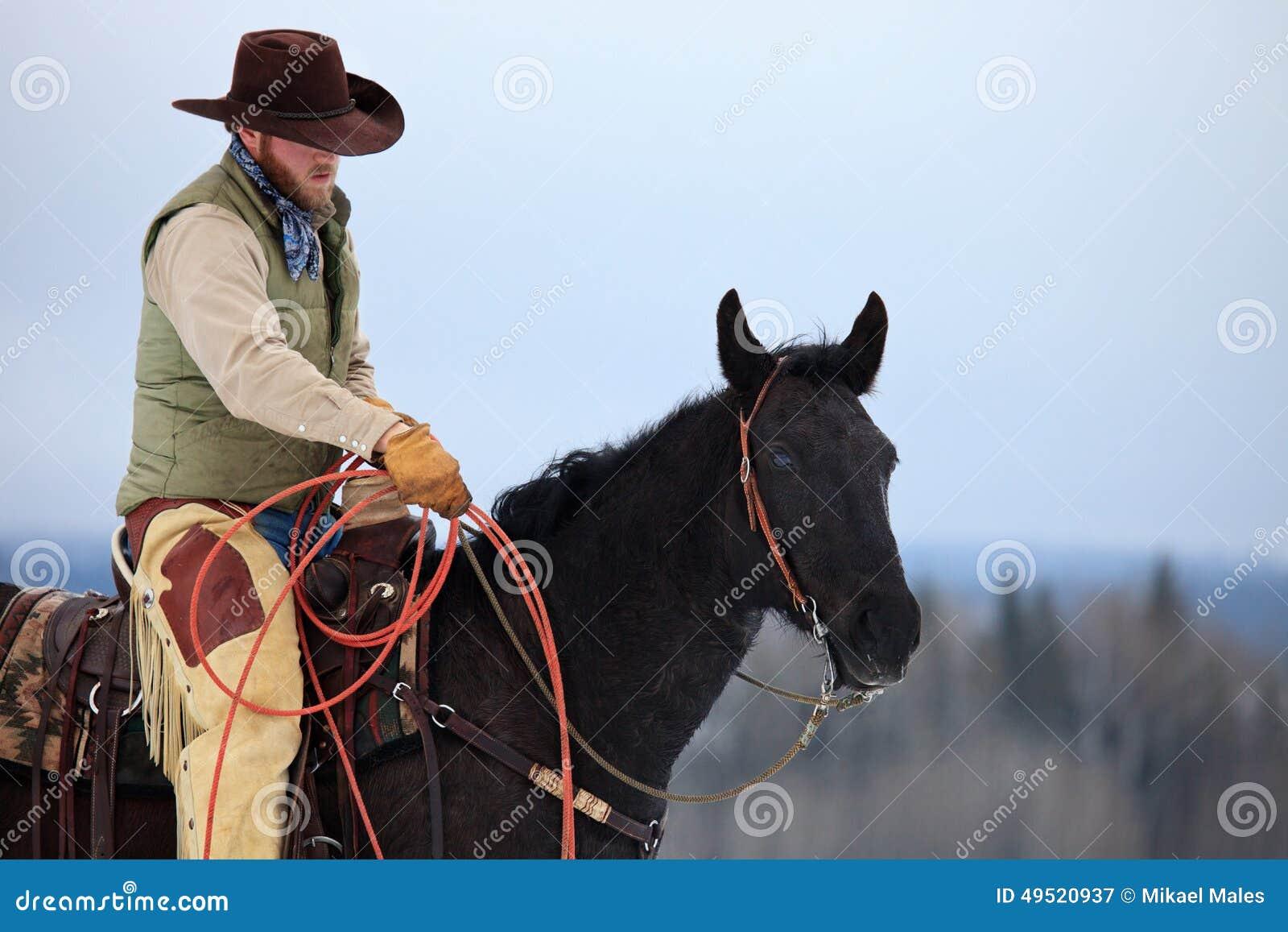 Vaquero que se prepara para rope