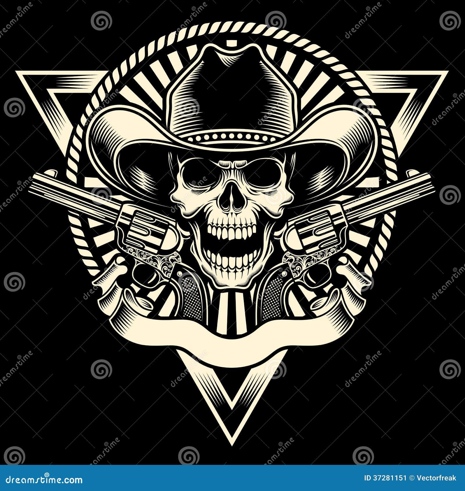 Vaquero Skull With Revolver