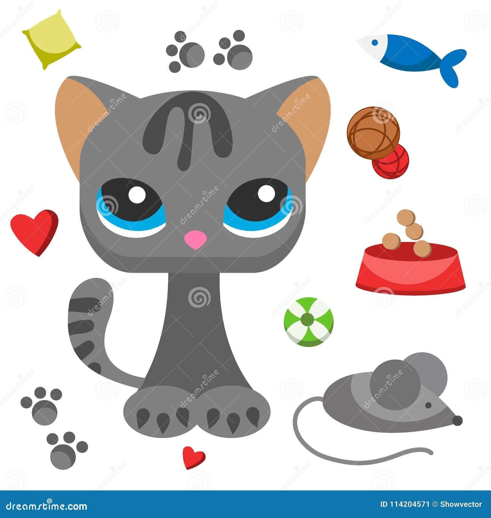 a vaquinha bonito do gato e do rato pet a ilustração semelhante aos