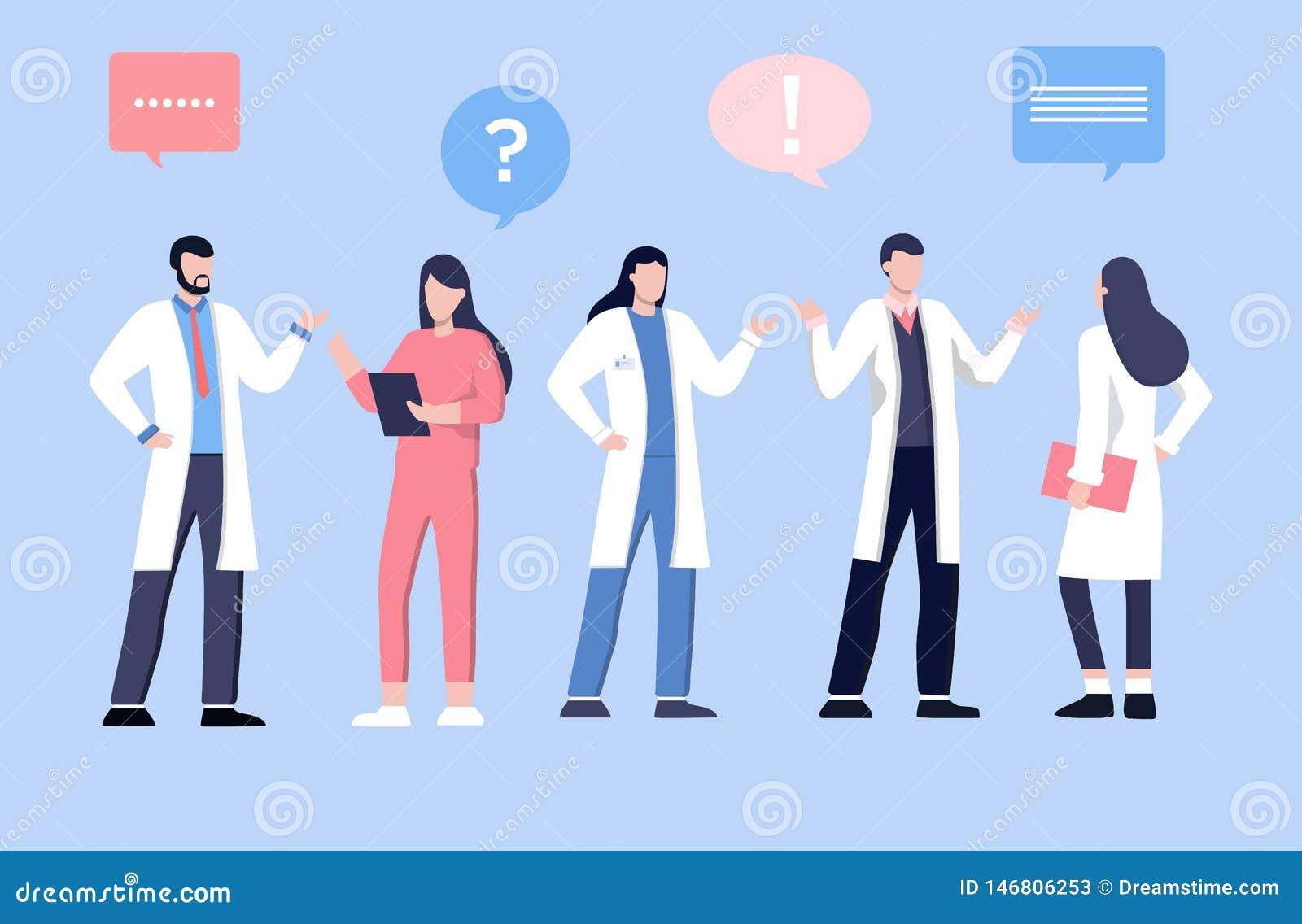 Varón y doctor del feamle que habla con los pacientes Los servicios de la atenci?n sanitaria, preguntan a doctor Terapeuta en uni