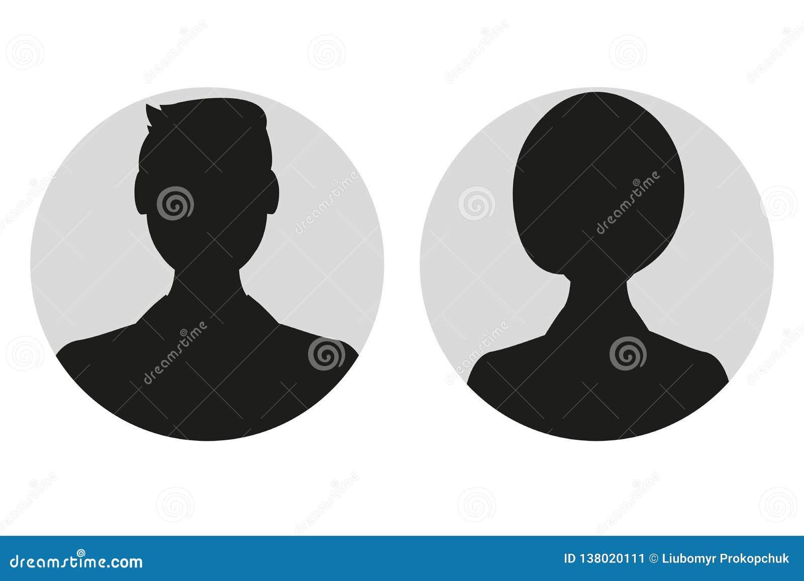 Varón y silueta o icono femenina de la cara Perfil del avatar del hombre y de la mujer Persona desconocida o anónima Ilustración