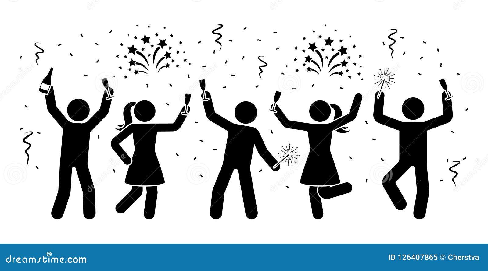 A vara feliz figura a comemoração do ícone da noite do ano novo Homens e fogo de artifício das mulheres, serpentina, pictograma d