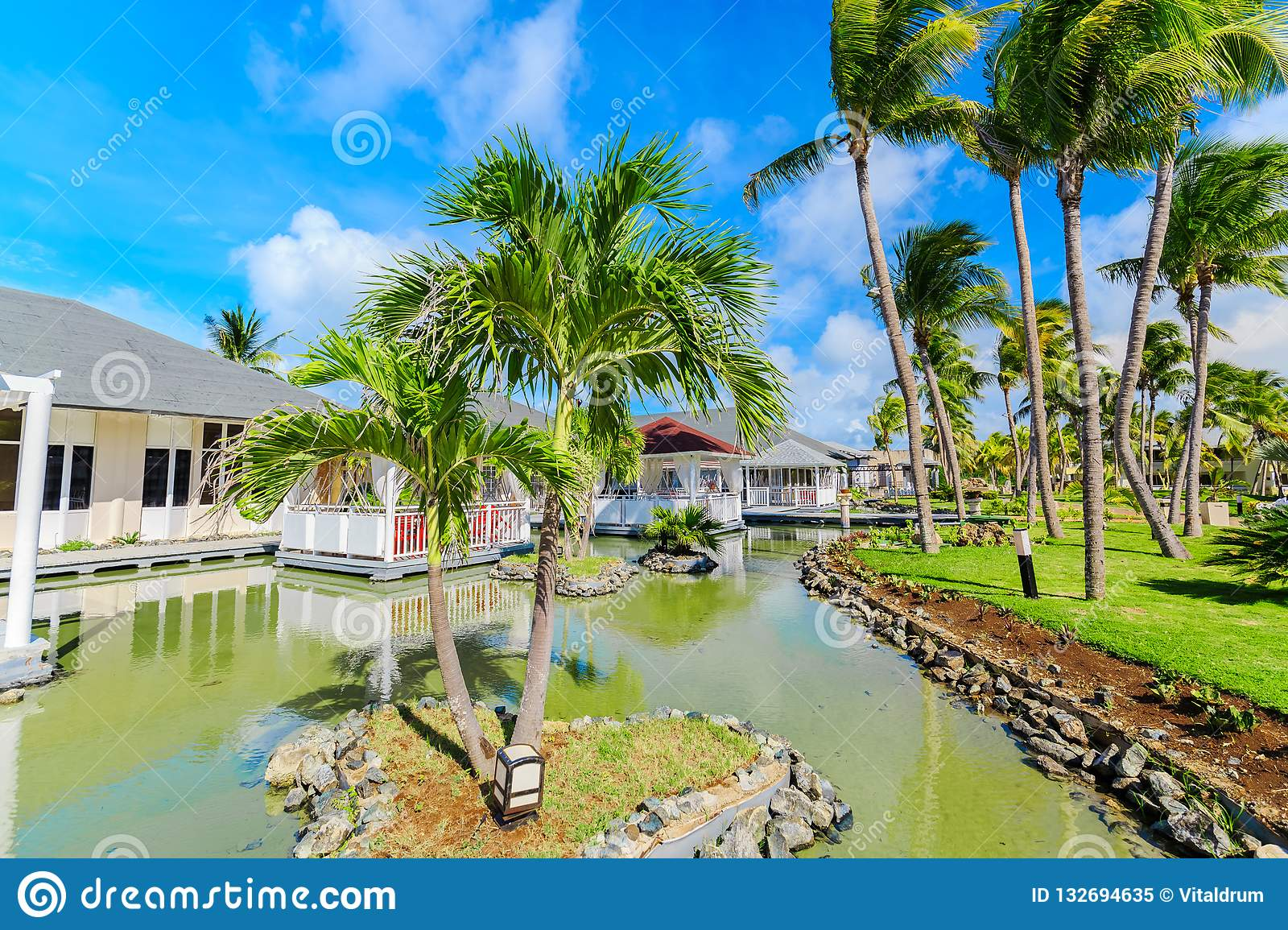 Natural Landscape View Of Resort Grounds And Restaurant Buildings In Tropical Garden Surrounded By Water On Sunny Gorgeous Day B Editorial Image Image Of Relaxing Paradisus 132694635