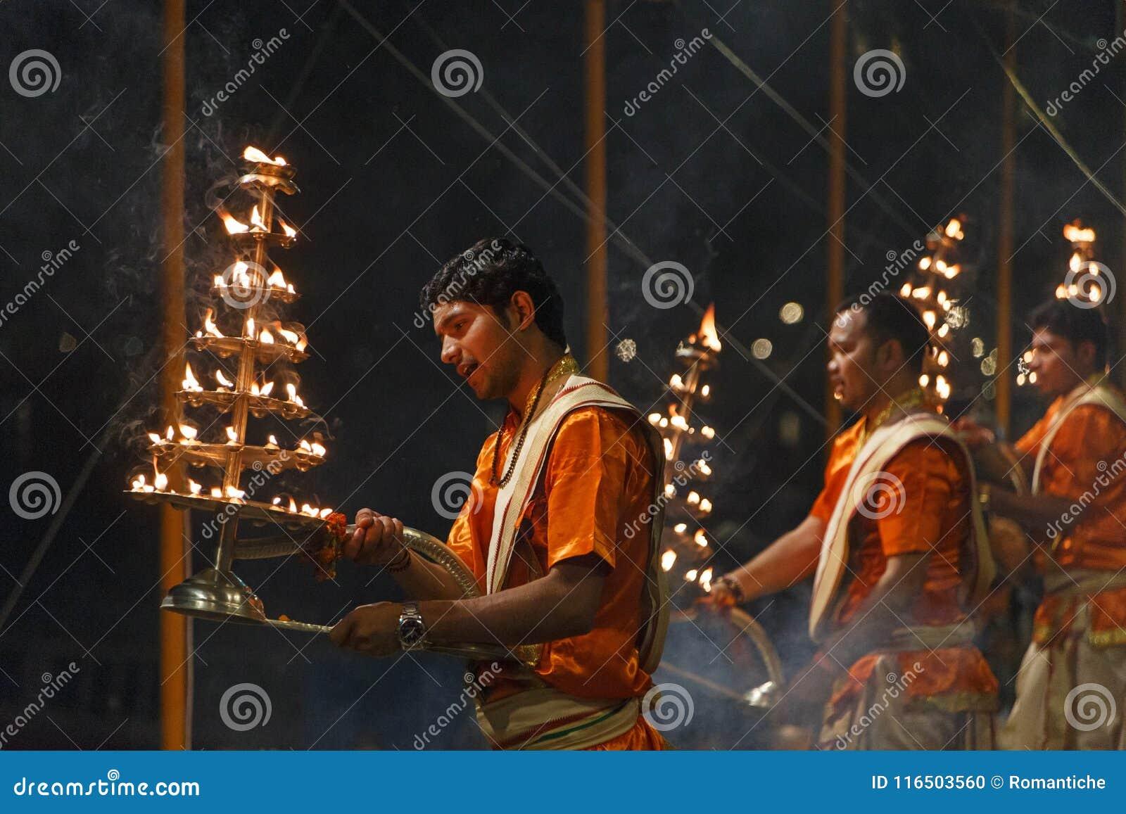 VARANASI, INDIA - MARCH 20, 2018: priests on Ganga Seva Nidhi ceremony