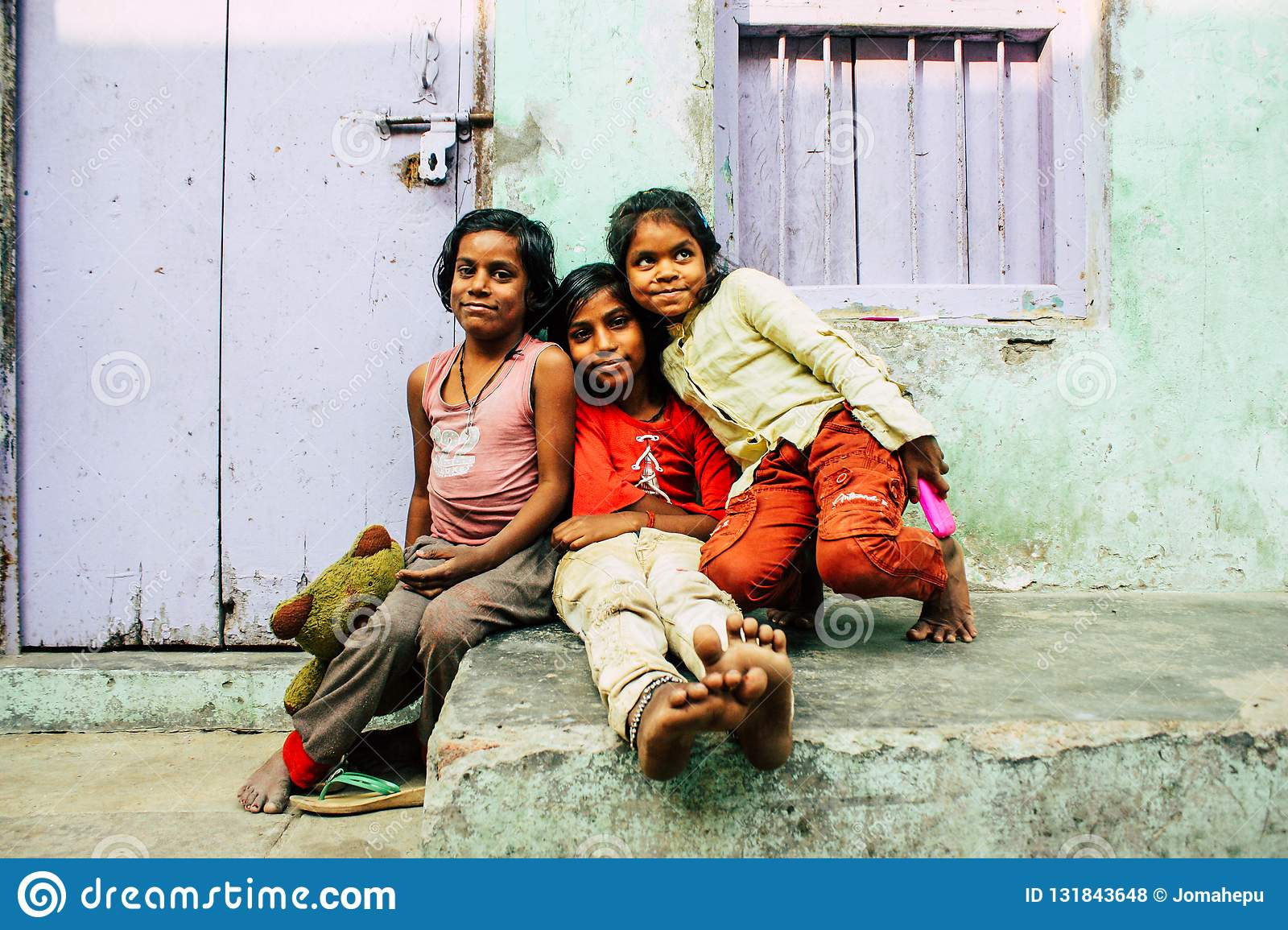 a1e96d8dfc Varanasi India November 11, 2018 Portrait of a young Indian girl having fun  in the streets of Varanasi in the afternoon