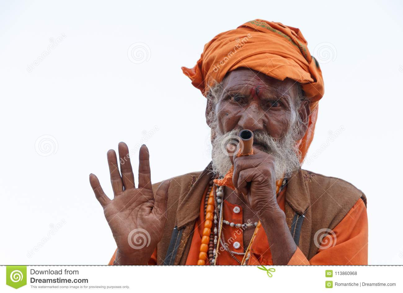 Arresting Sadhus Portrait Photography Religious Photography: MARCH 19, 2018: Smoking Sadhu In