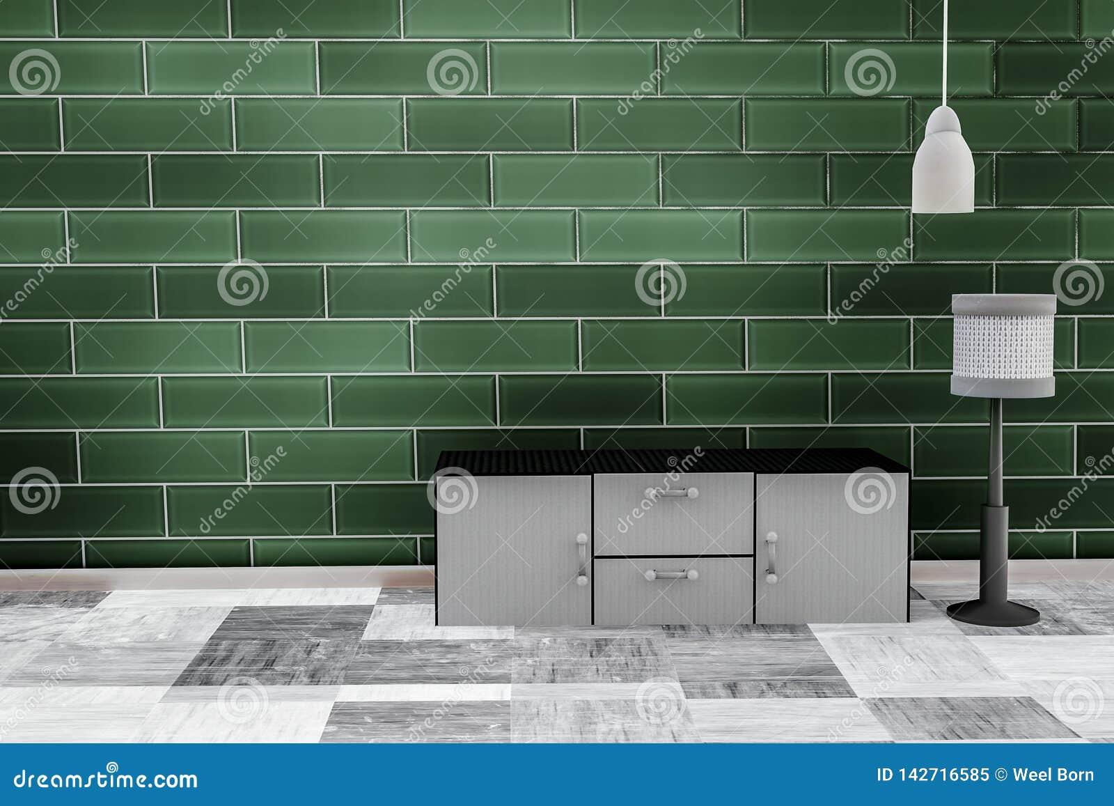 Vardagsrum med bakgrund för vägg för tegelsten för smaragdgräsplan