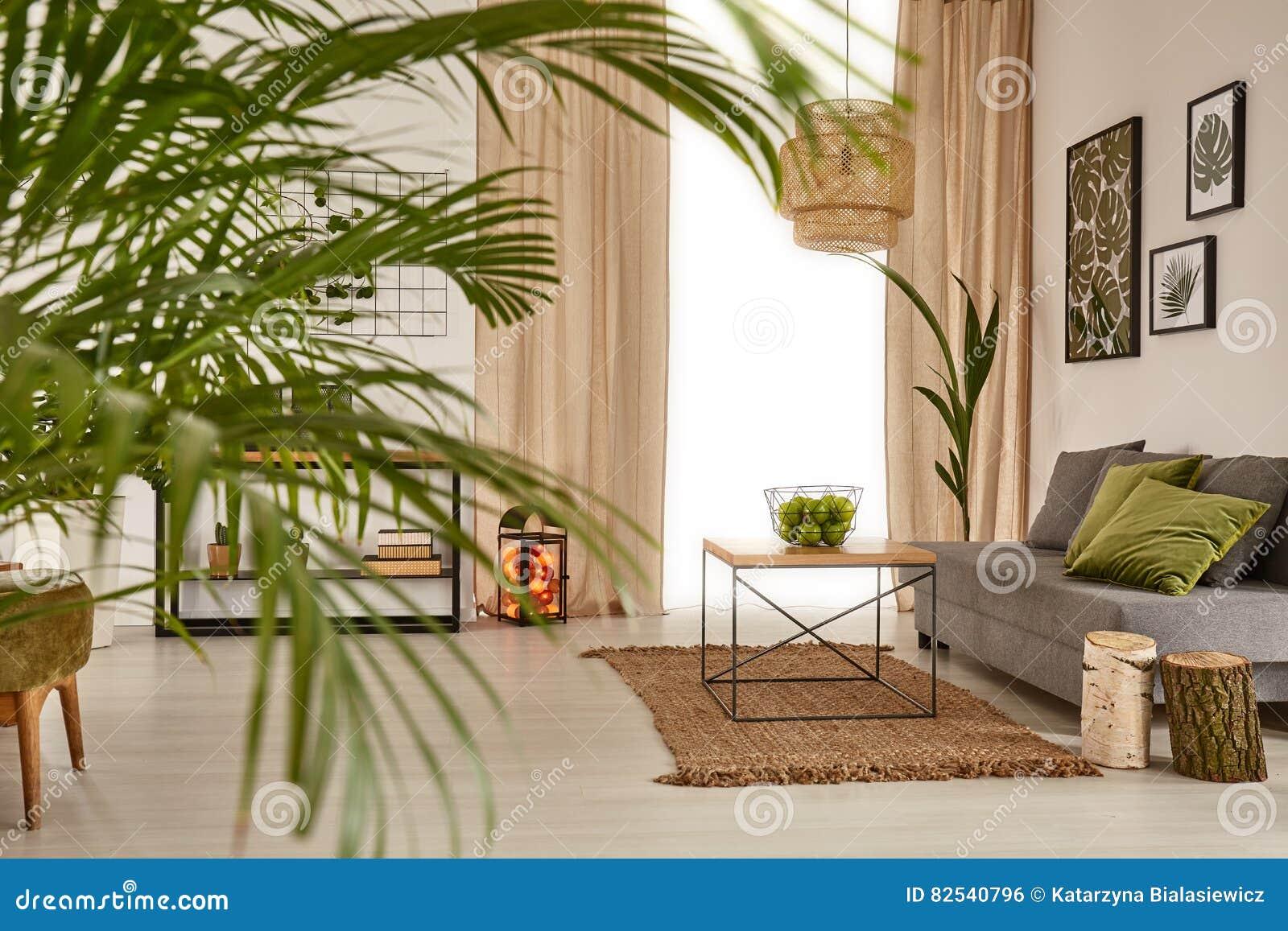 Vardagsrum med dekorativt gömma i handflatan