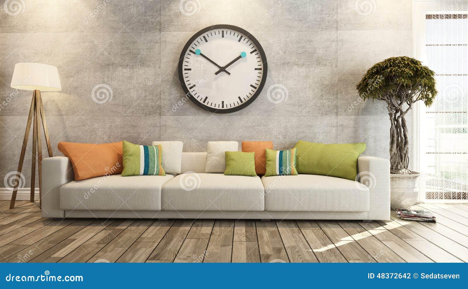 Vardagsrum med den stora klockan på tolkning för betongvägg 3d ...