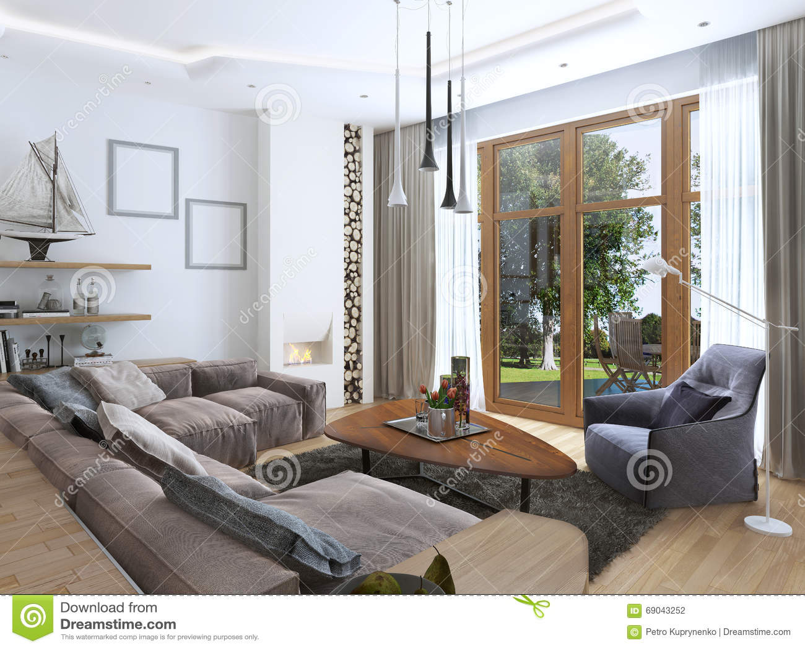 Vardagsrum med den stor soffan, fönstret och matta. royaltyfria ...