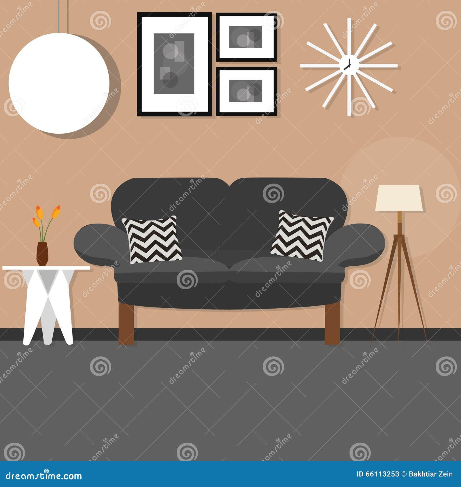 Inre svart soffa för vardagsrum och mörkervägg stock ...