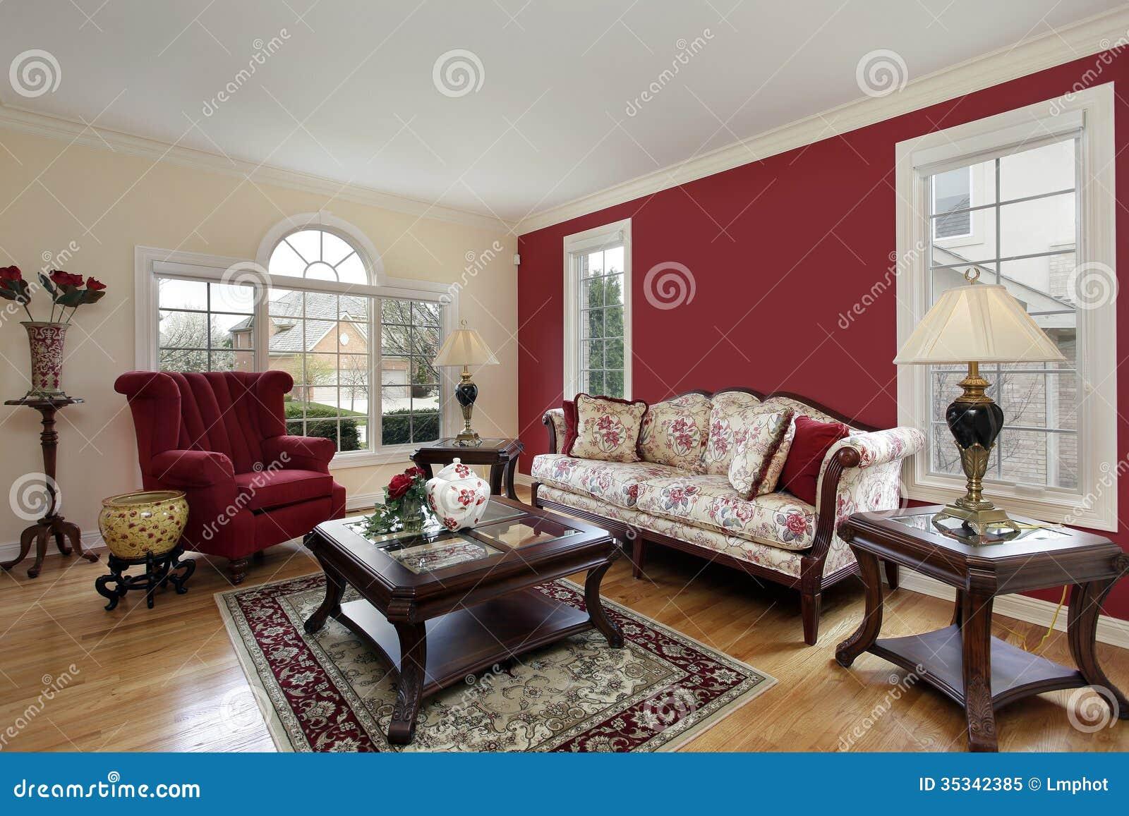 Vardagsrum med röda och kräm  kulöra väggar royaltyfri foto   bild ...