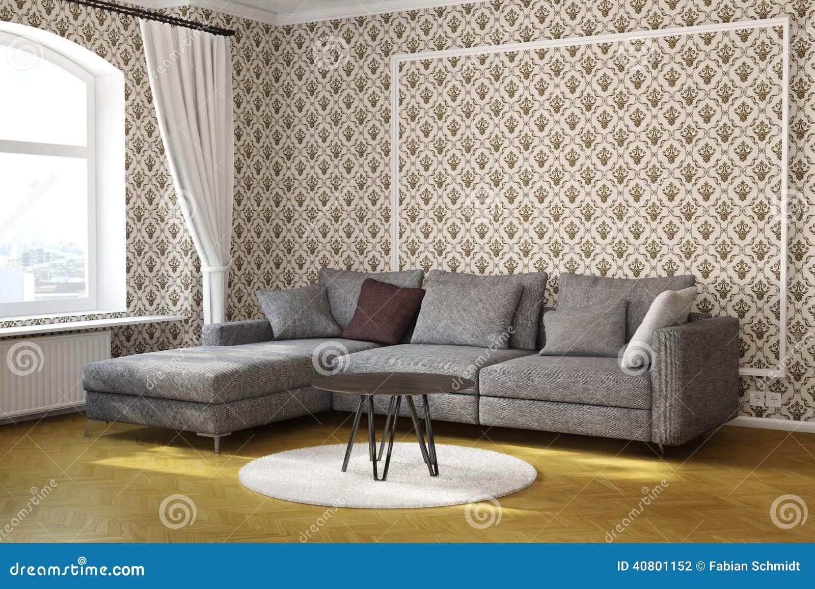 Vardagsrum med tabellen och matta stock illustrationer   bild ...