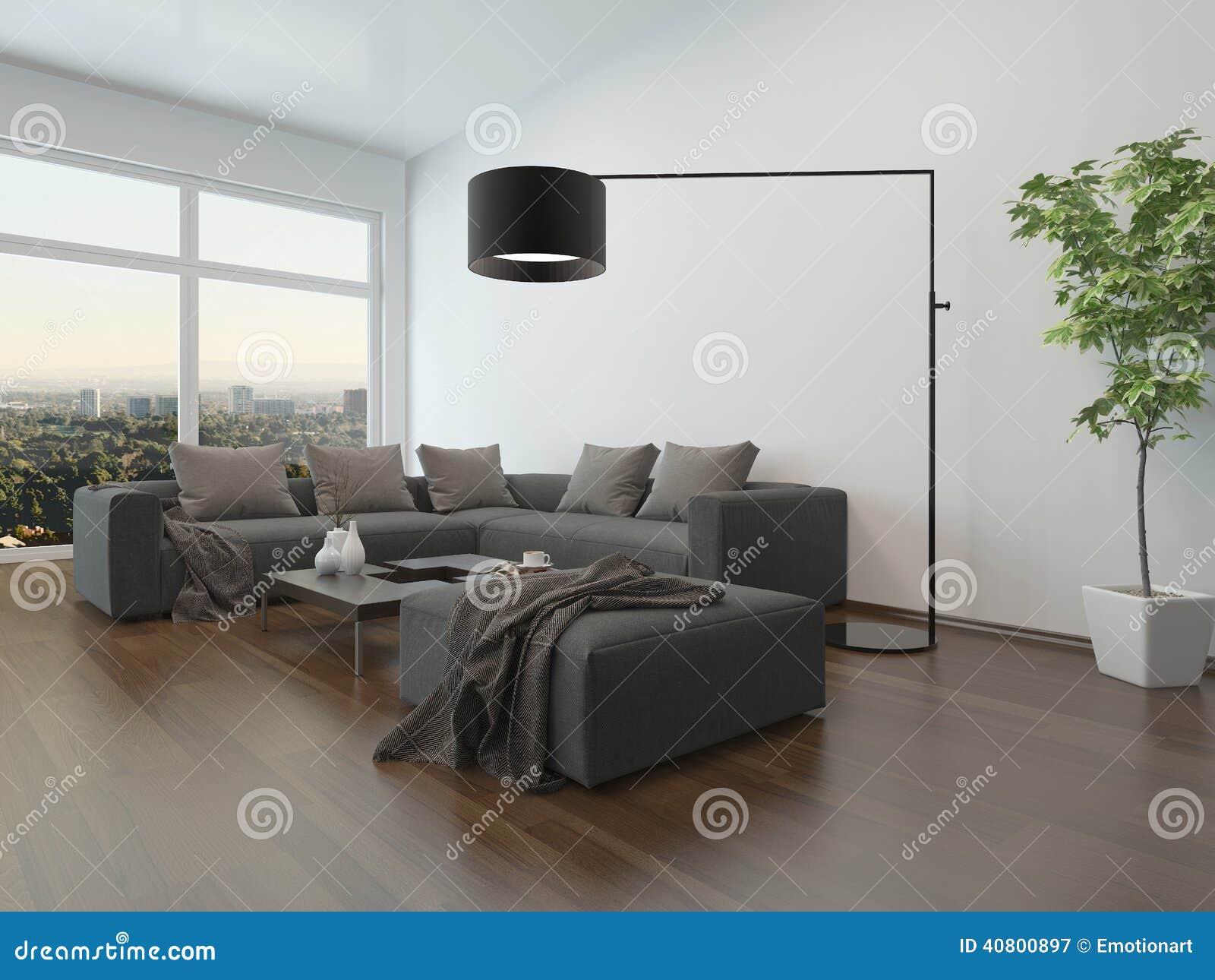 Vardagsruminre w grå soffa och golvlampa stock illustrationer ...
