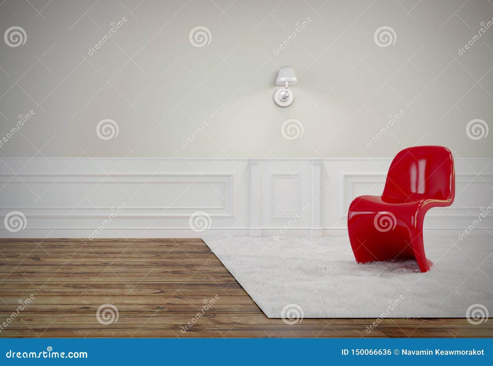 Vardagsrummet har en härlig röd stol, trägolv, och den vita väggen, 3D framför bild