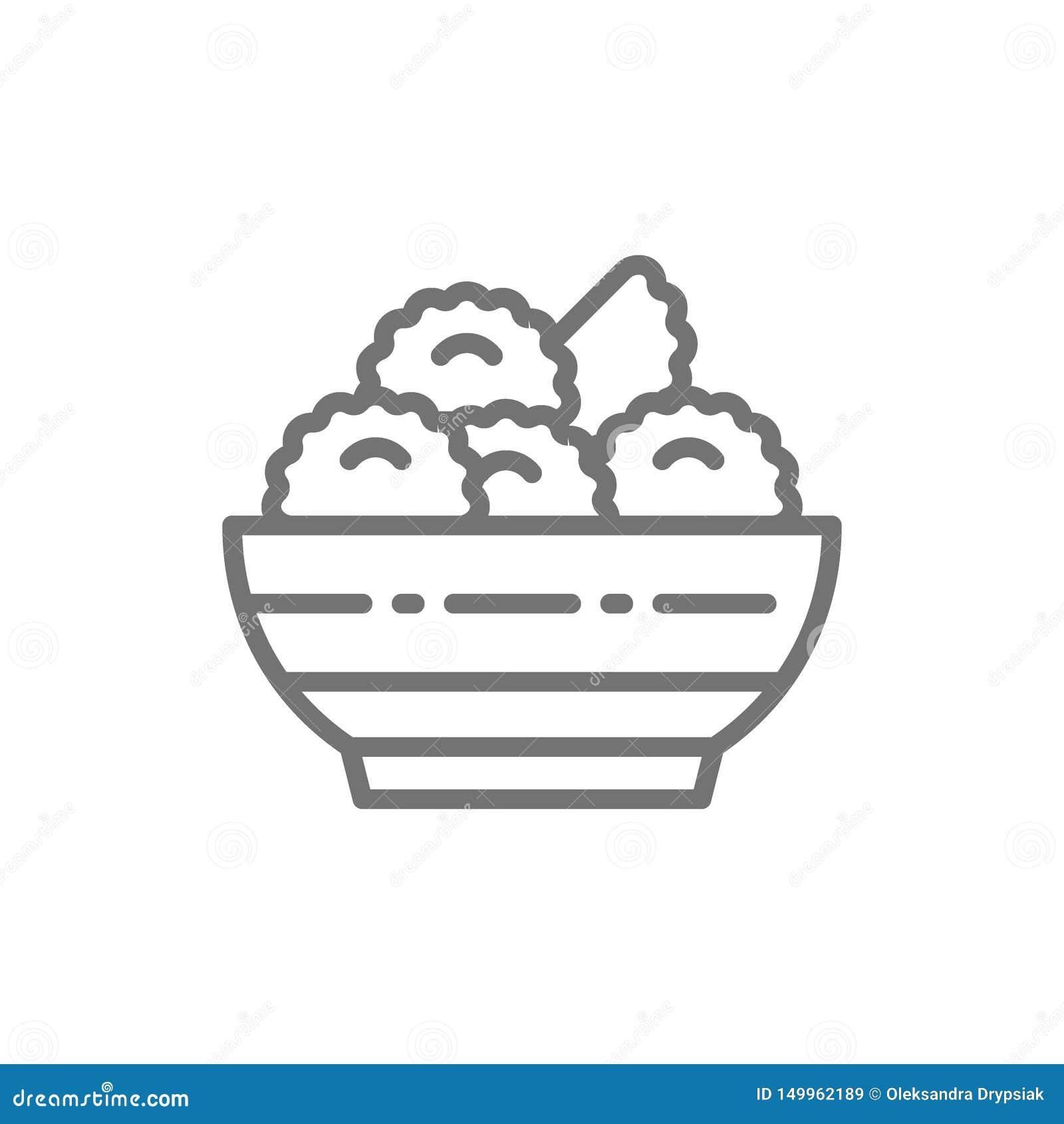 Vareniki, kluchy, ukraińska kuchni linii ikona