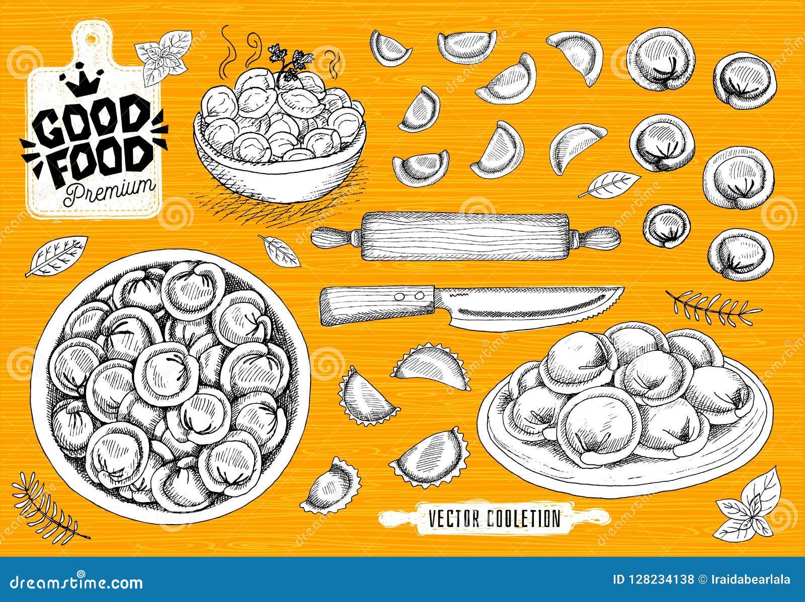 Vareniki Pelmeni Mięsne kluchy Jedzenie _ bambusa naczyń posiłku obywatela talerza dywanika owoce morza wtyka Produkty od mięsa i