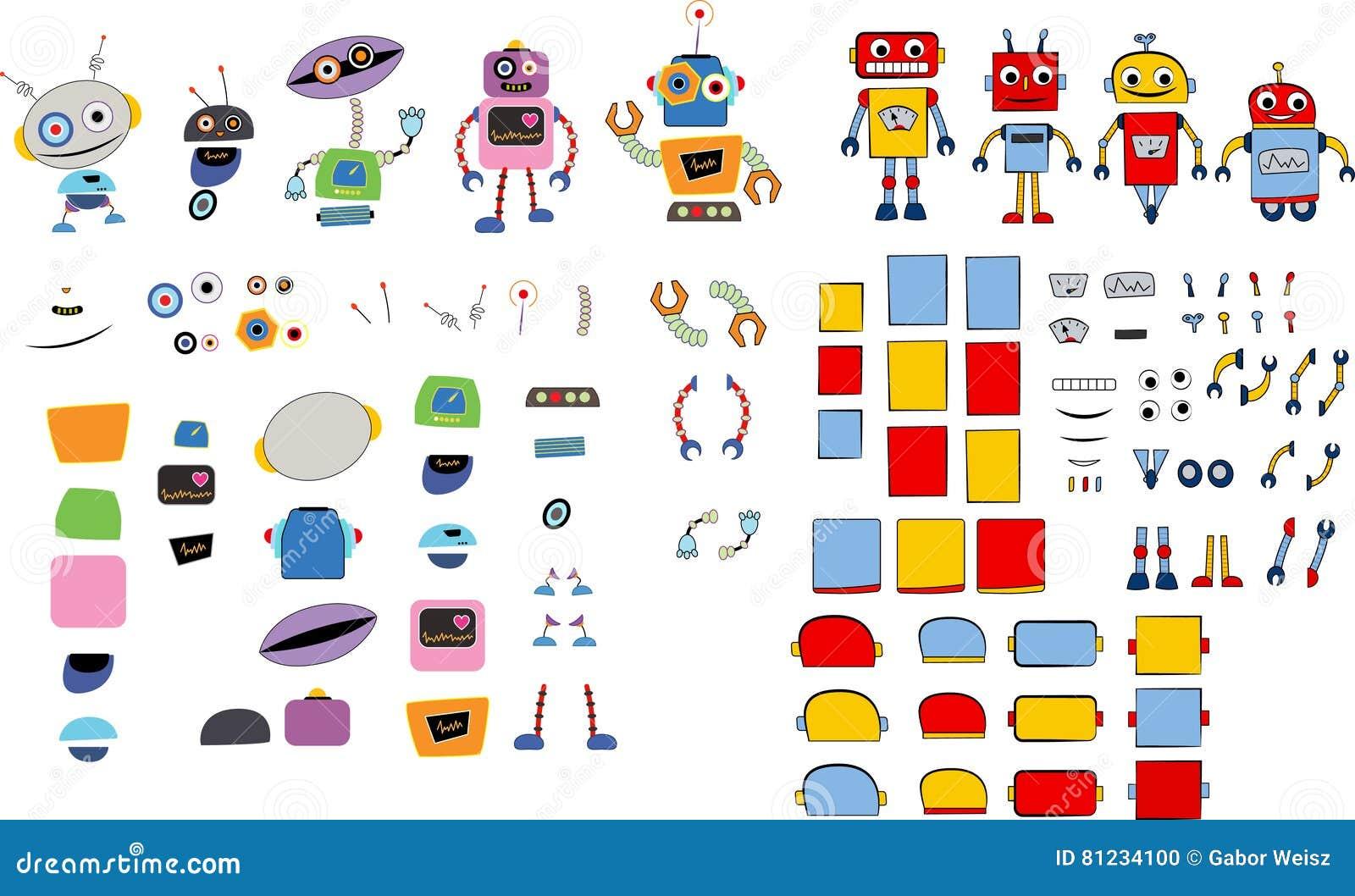 Vari robot e pezzi di ricambio