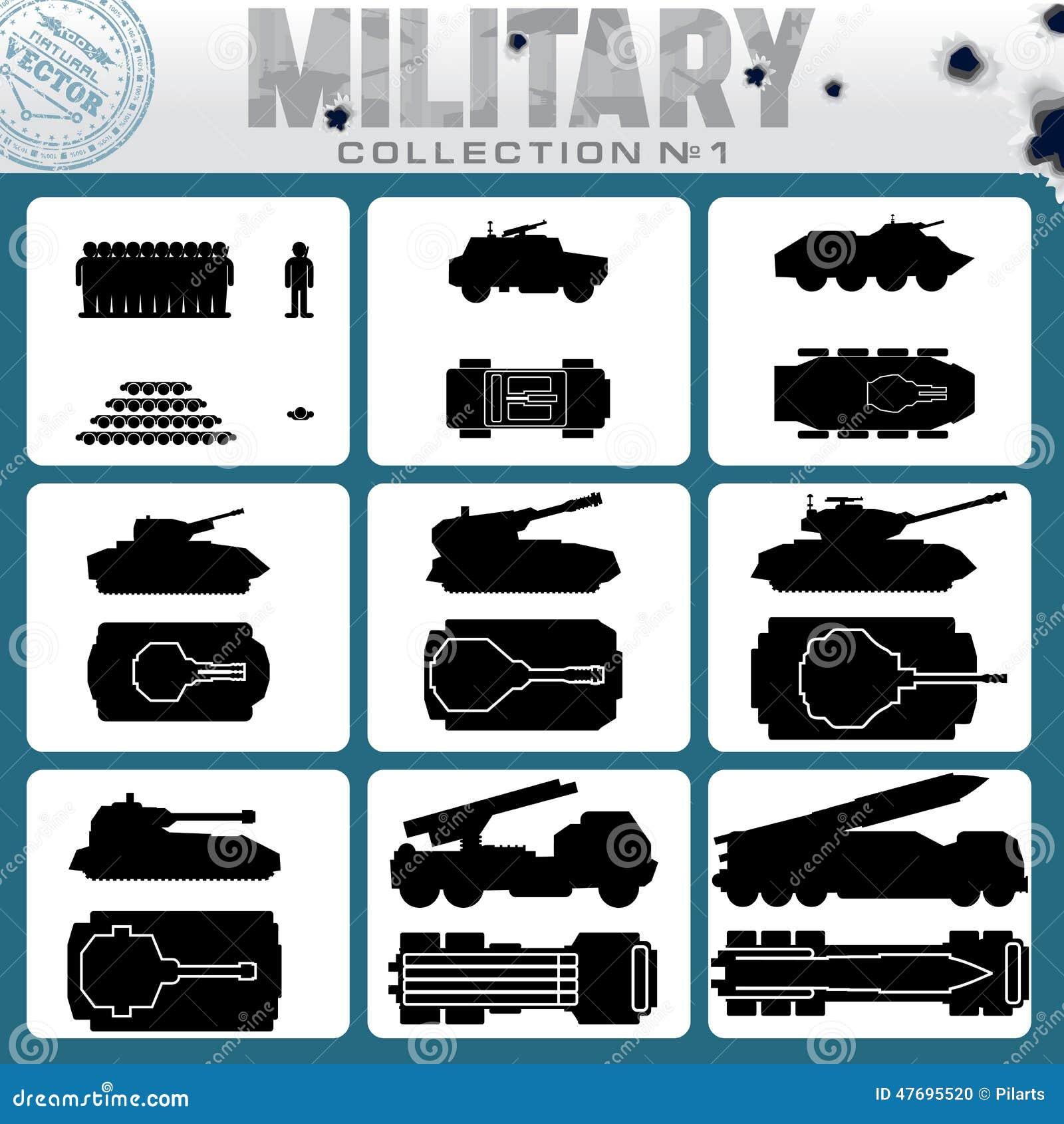 Vari veicoli militari Icone di vettore