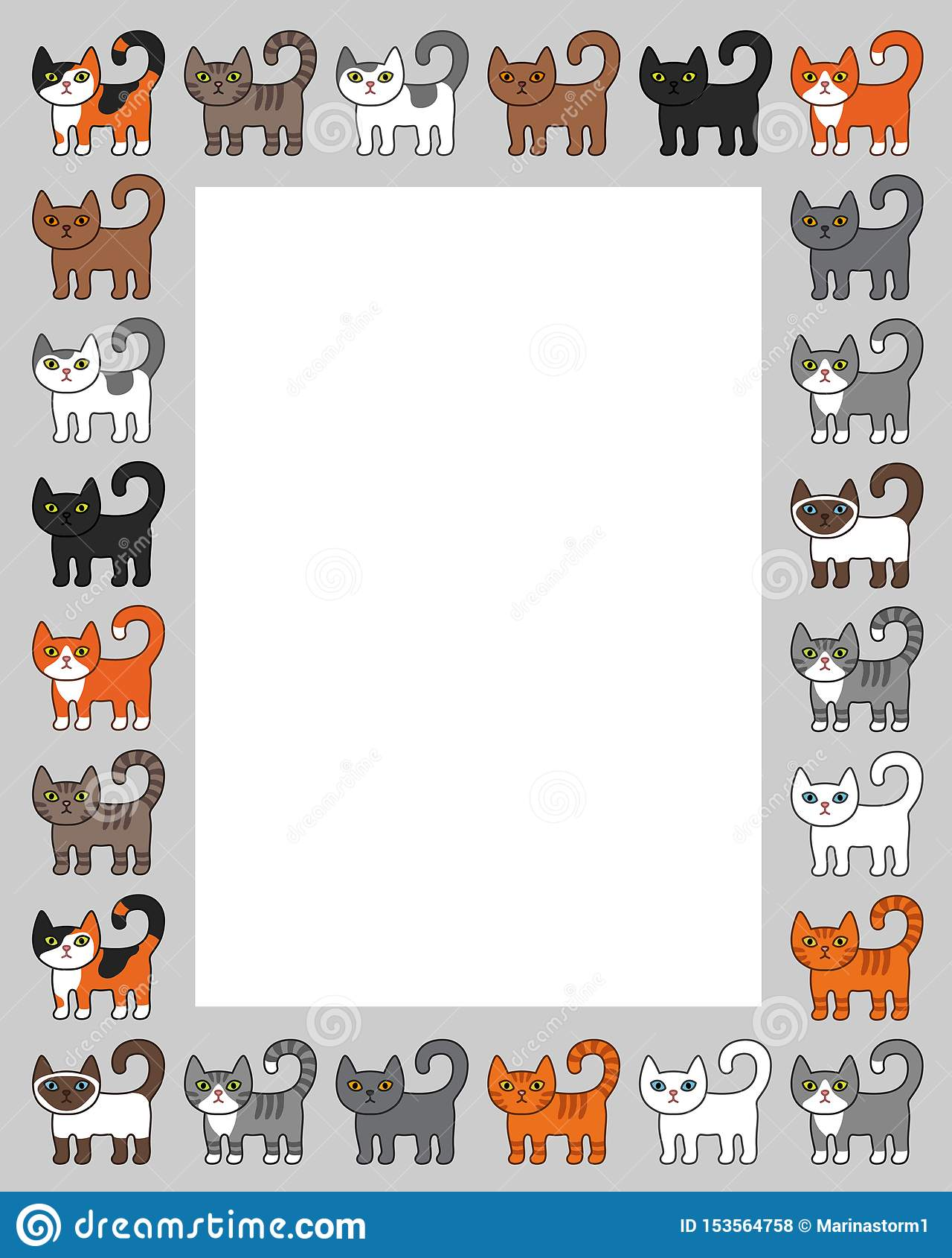 Varia struttura del confine dei gatti Illustrazione sveglia e divertente di vettore del gatto del gattino del fumetto messa con d