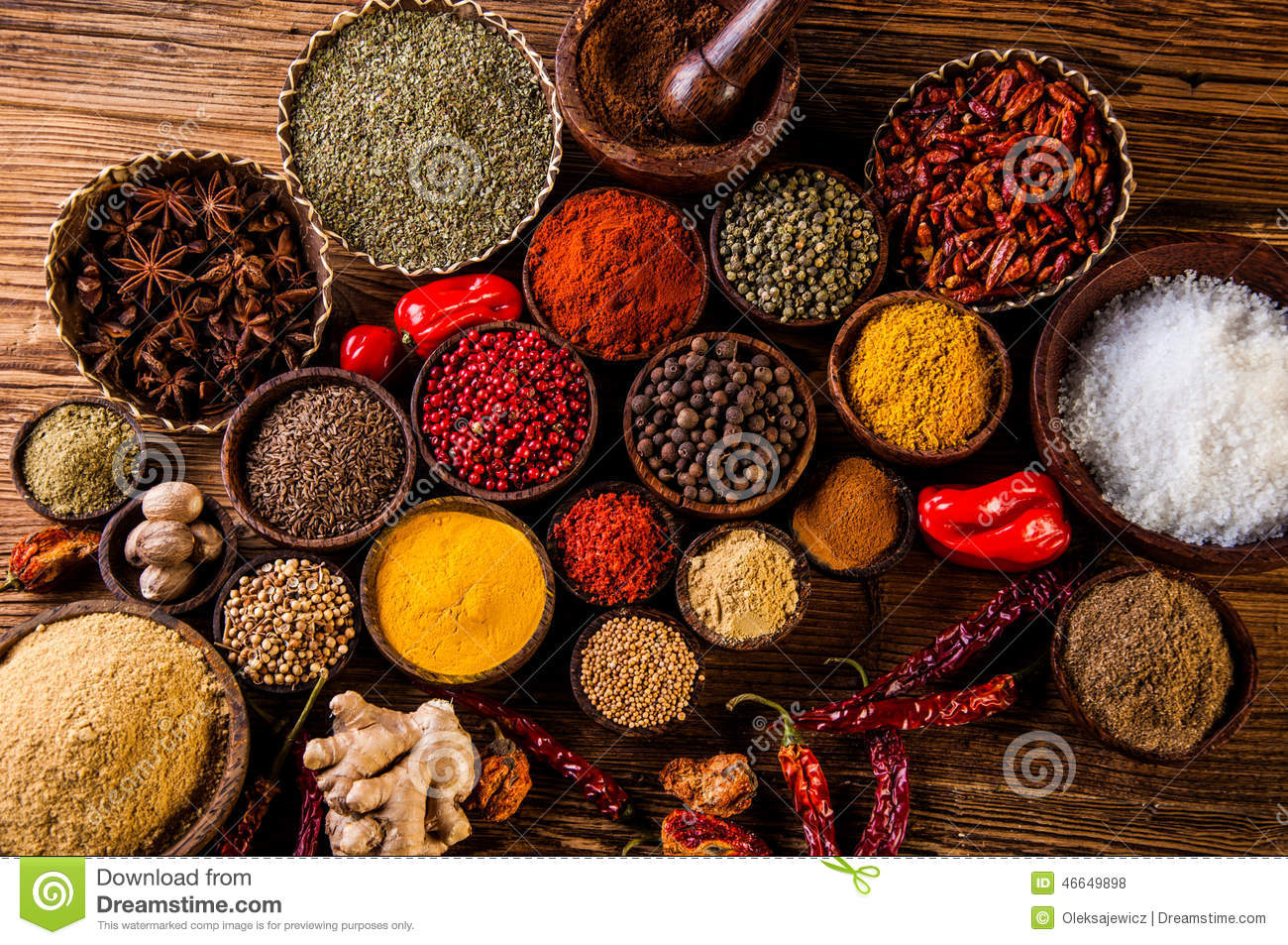 Variability of asian spices on wooden table stock photo for 7 spices asian cuisine