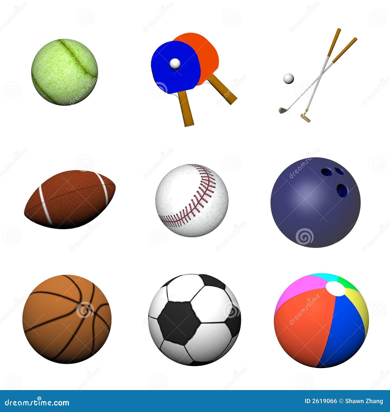 Varias bolas de los deportes