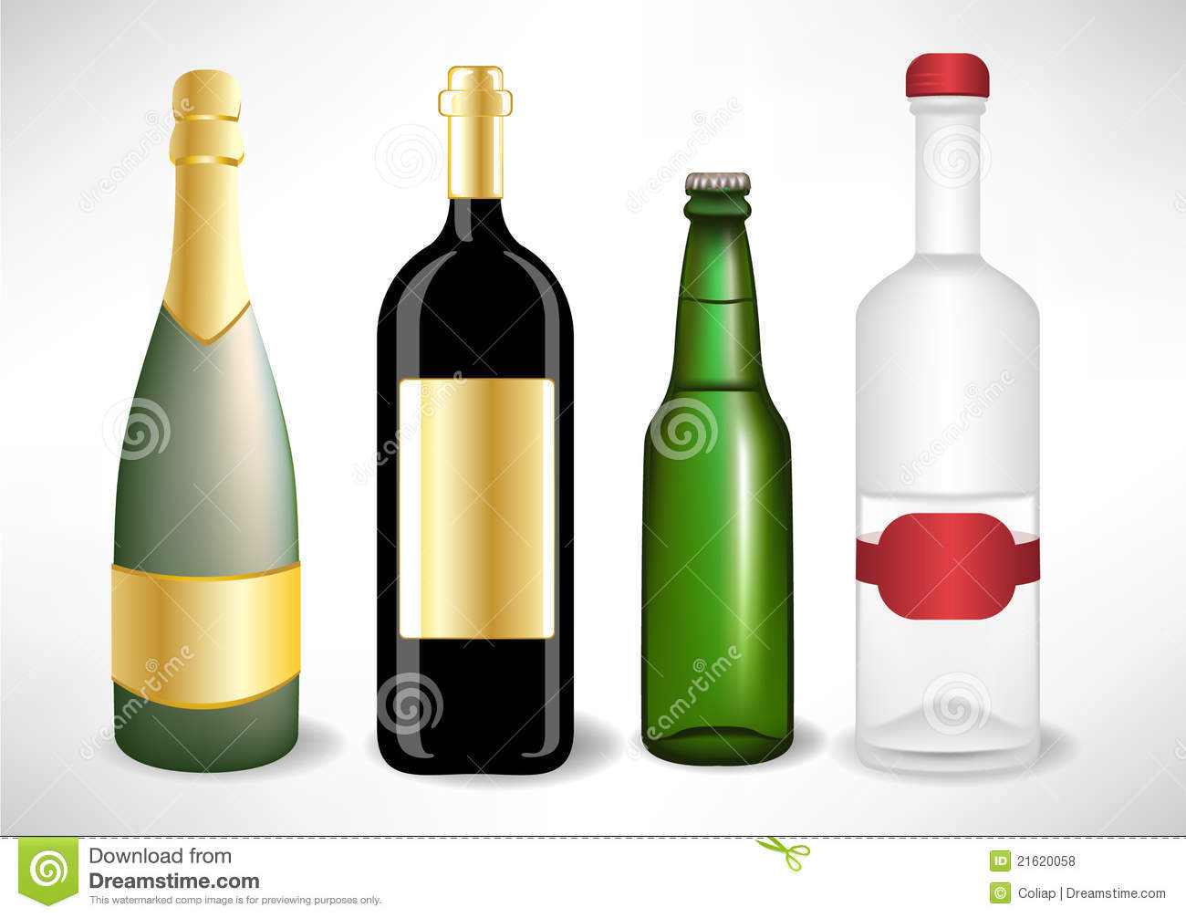 Varias Botellas Del Alcohol
