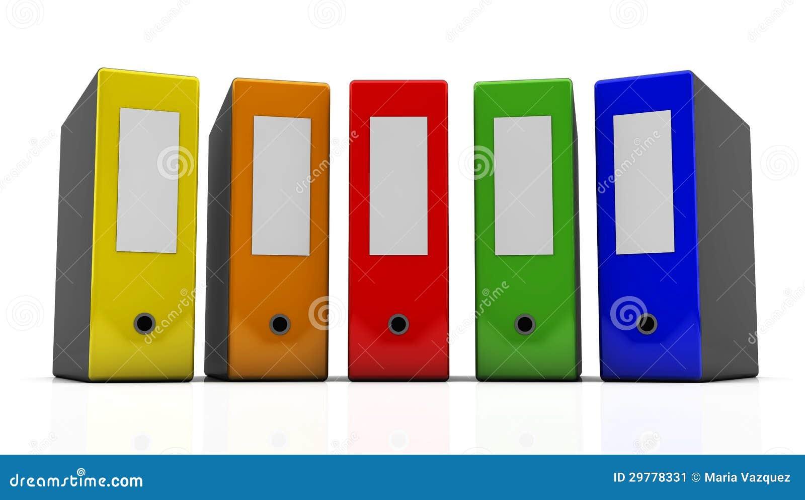 Varias carpetas de archivos multicoloras en el fondo blanco en 3d.