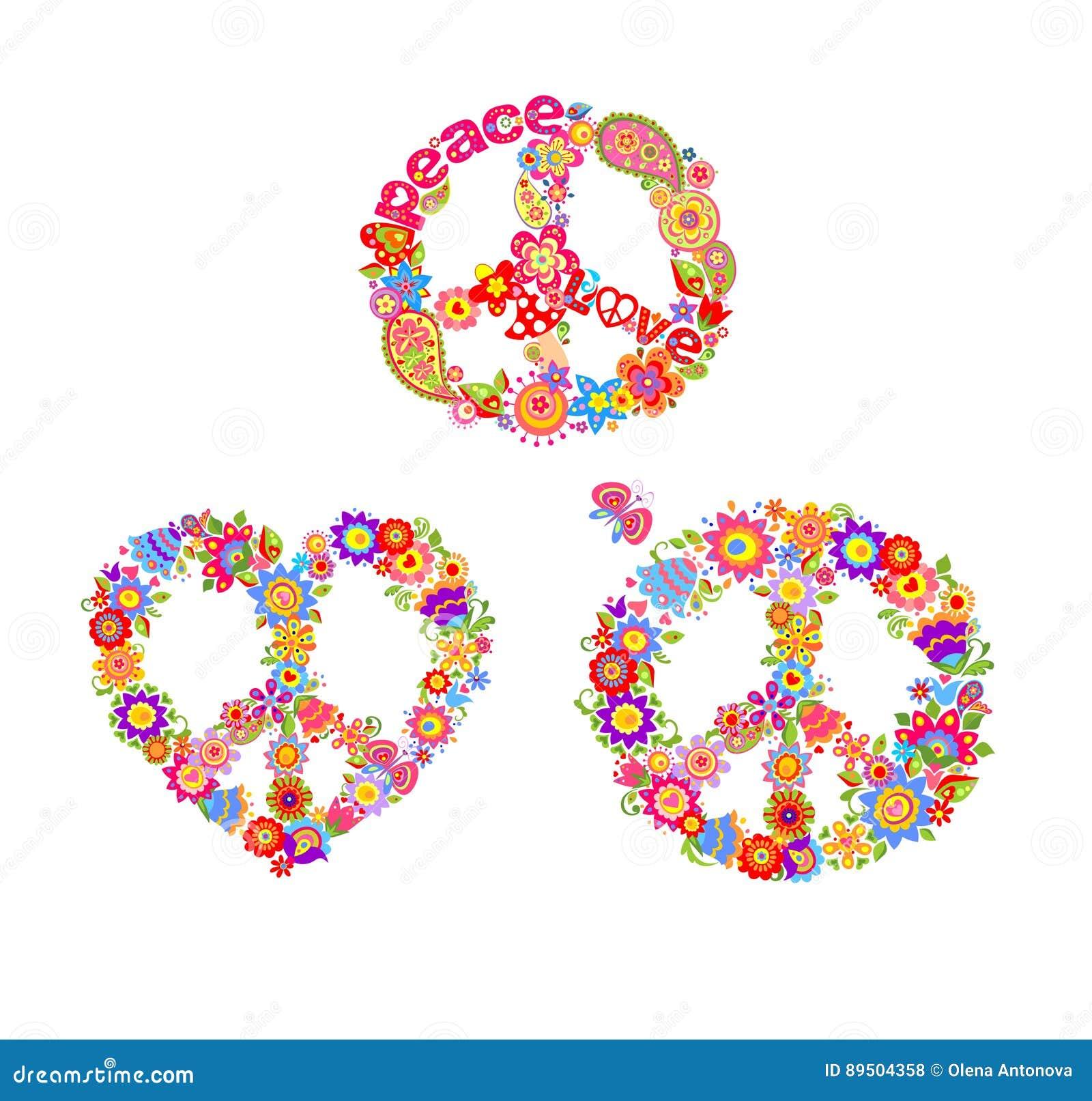 Variatie van decoratieve hippiedrukken met de symbolen van de vredesbloem
