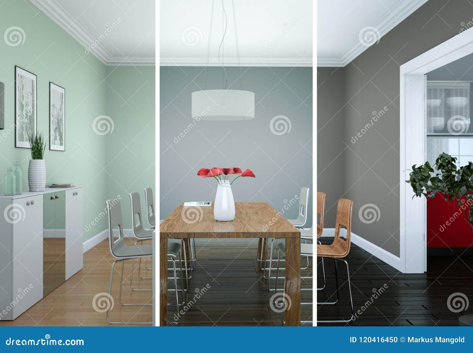 Variations De Couleur De Splitted De Conception Intérieure De Salle à Manger  Dans Lu0027illustration Moderne De Lu0027appartement 3D