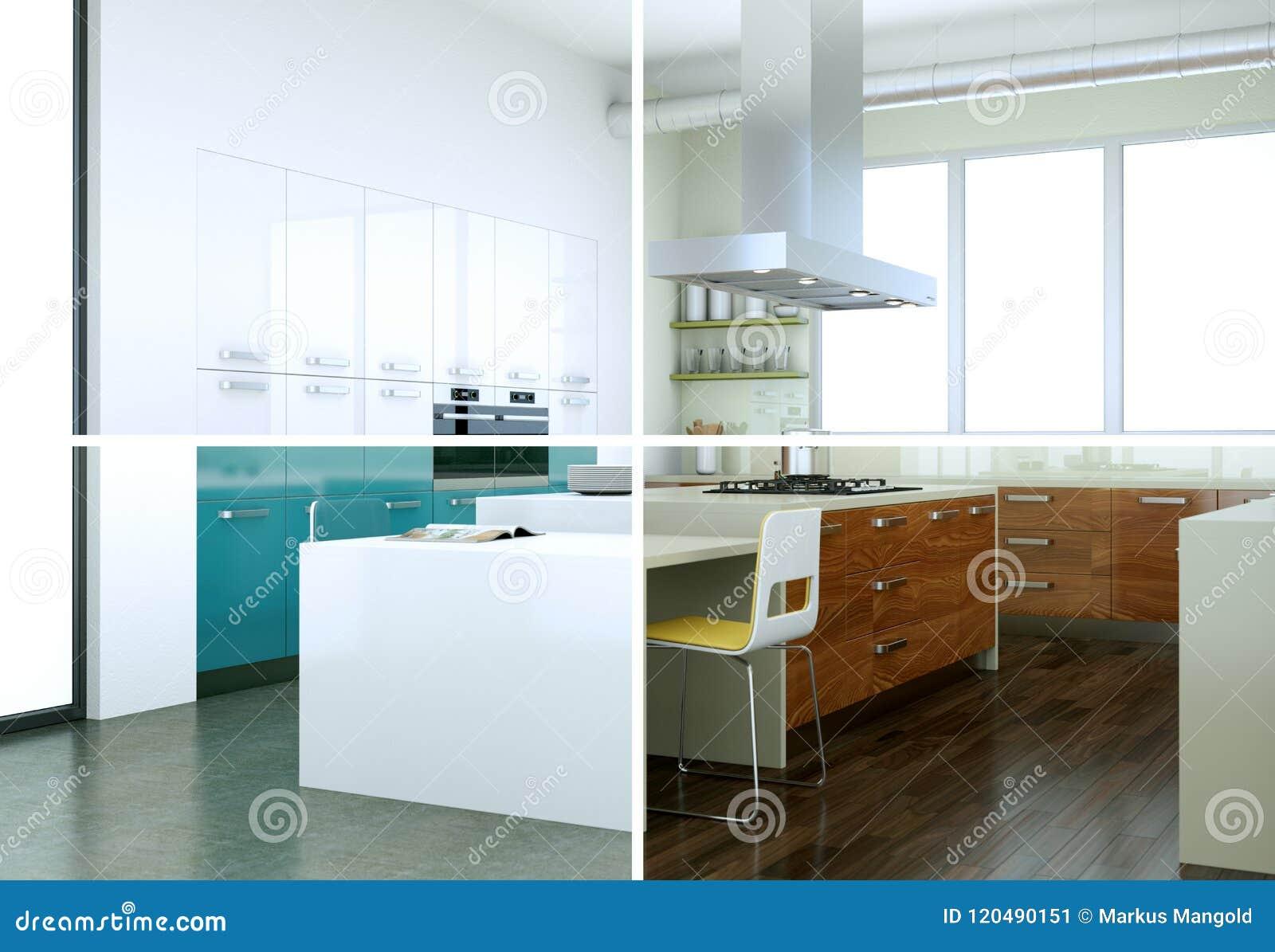 Variazioni Di Colore Di Splitted Di Una Cucina Moderna Con ...