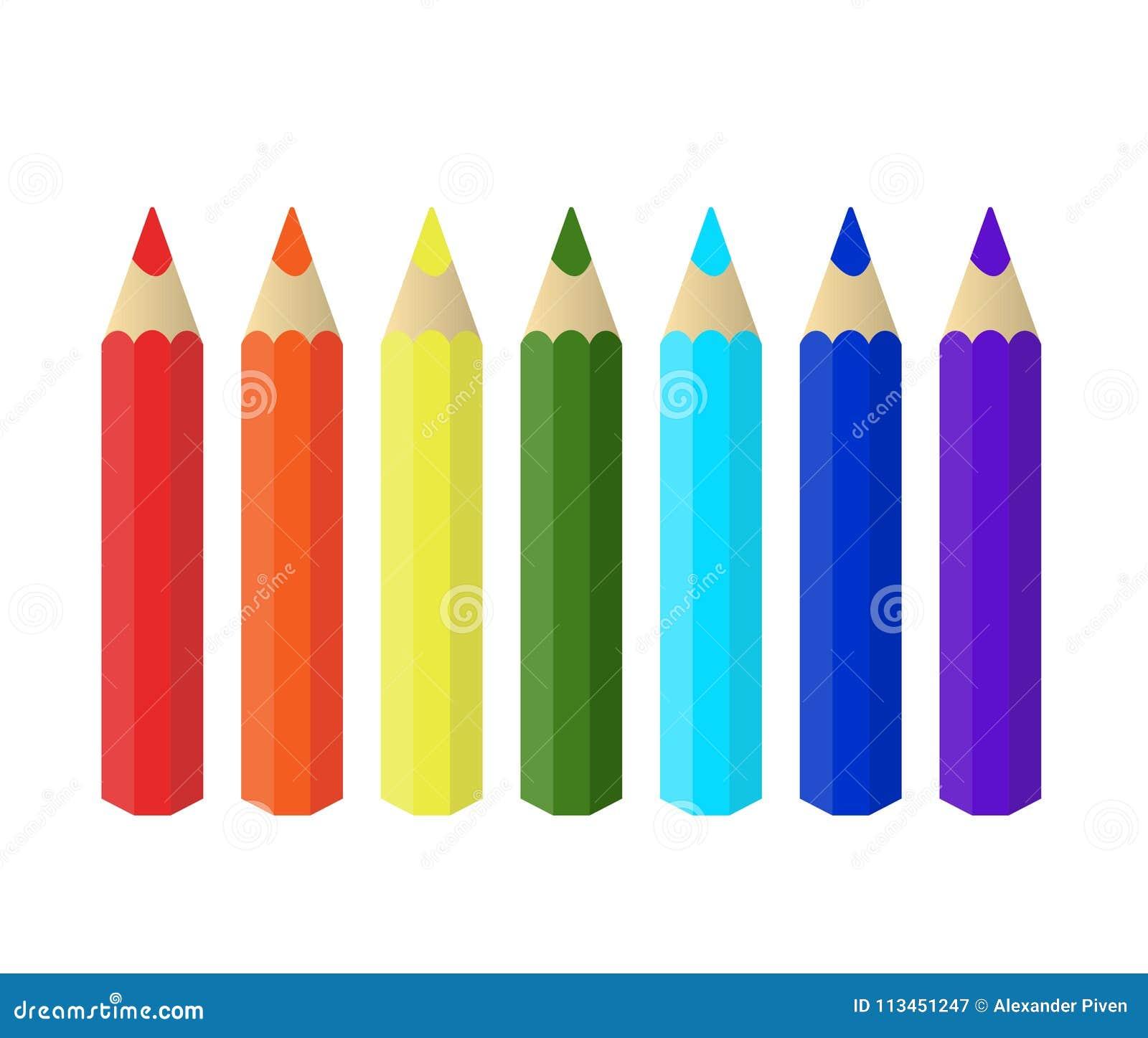 Varicolored kolorów ołówki ustawiają odosobnionego na białym tle tęcza klamerki lubią biurowe zupne dostawy