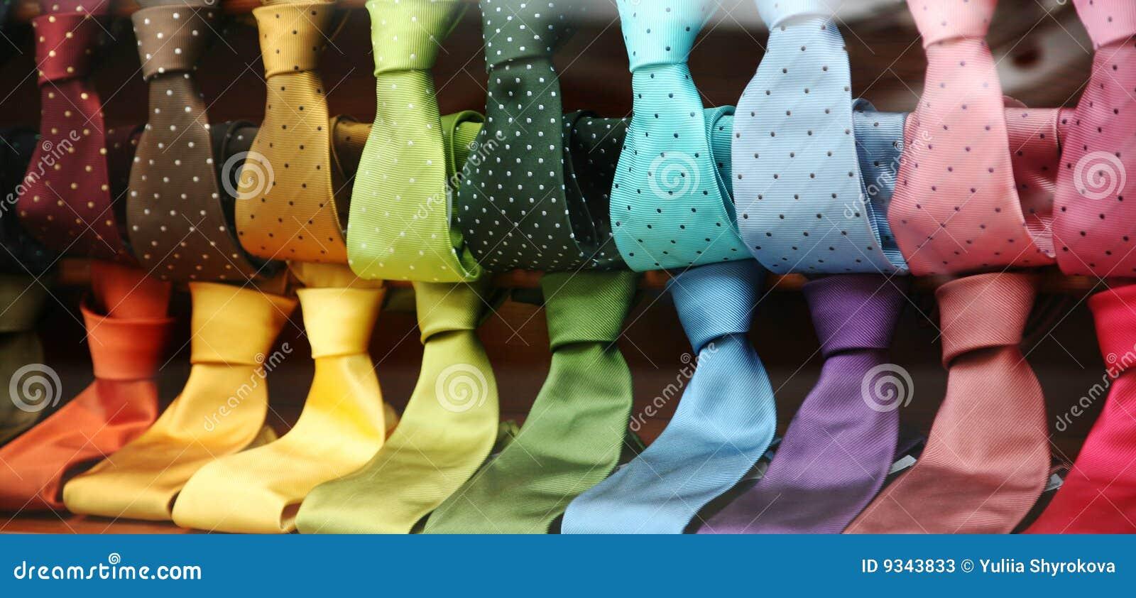 Varicolored Ties in a shopwindow
