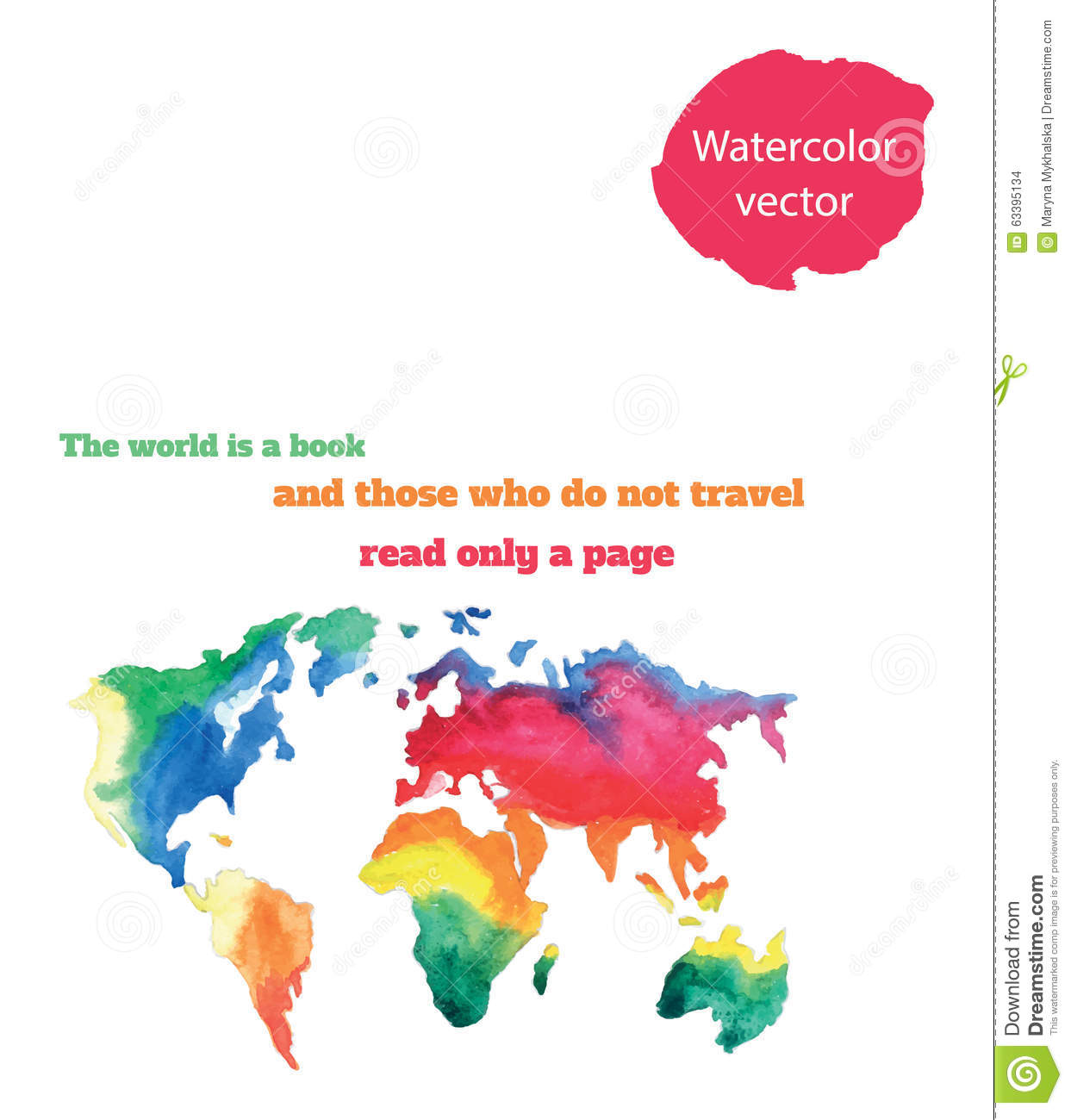 Varicolored watercolour world map stock vector illustration of varicolored watercolour world map royalty free vector download varicolored gumiabroncs Image collections