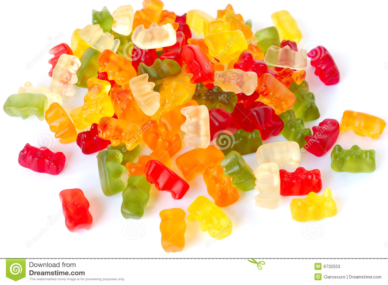 Varicoloured fruit jellies.It is isolated on a white background.