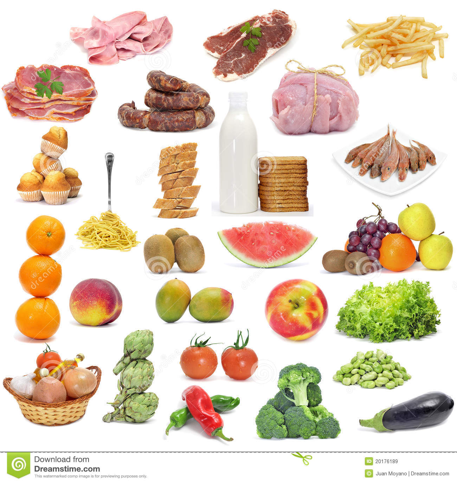 Varied diet stock image. Image of fish, milk, eggplant