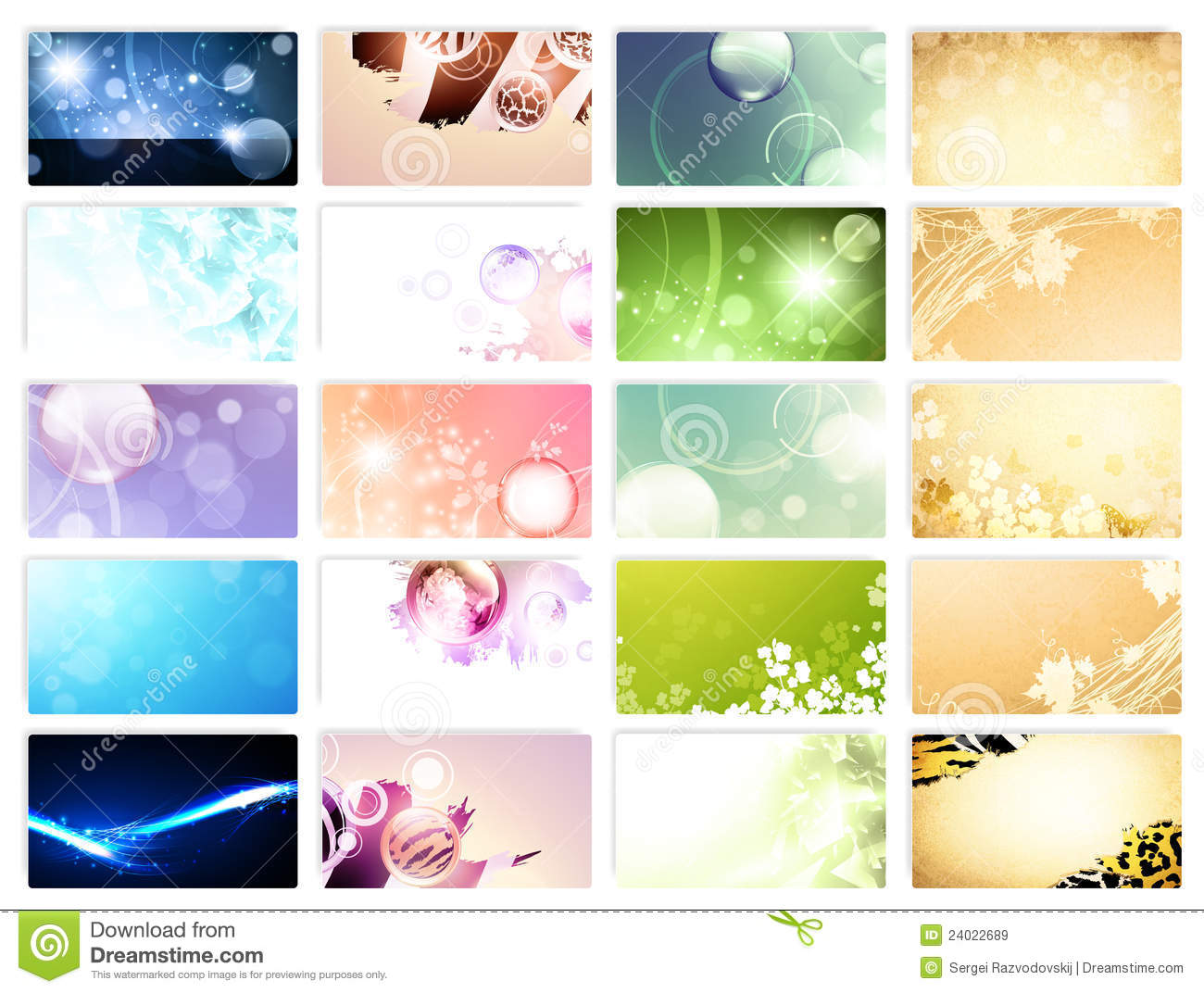 Variety Of 20 Horizontal Business Cards Templates Royalty