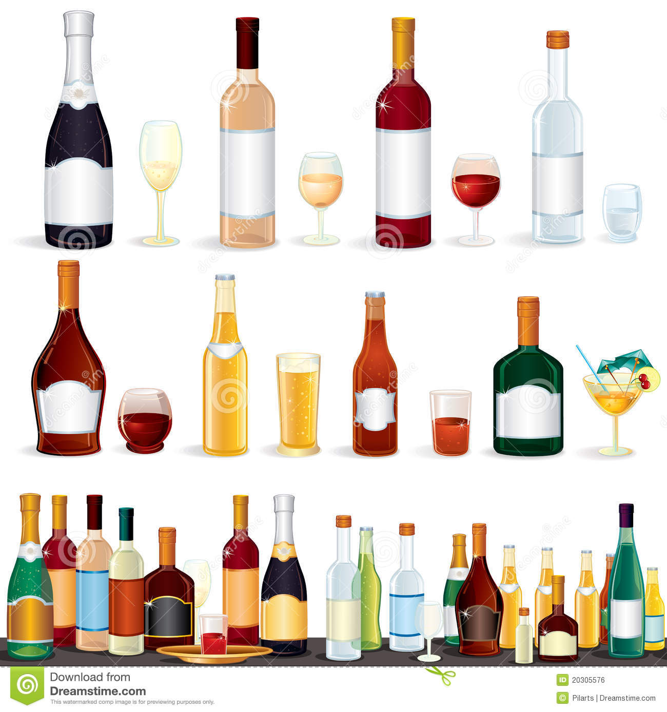 Variety Beverages Stock Vector. Illustration Of Alcohol