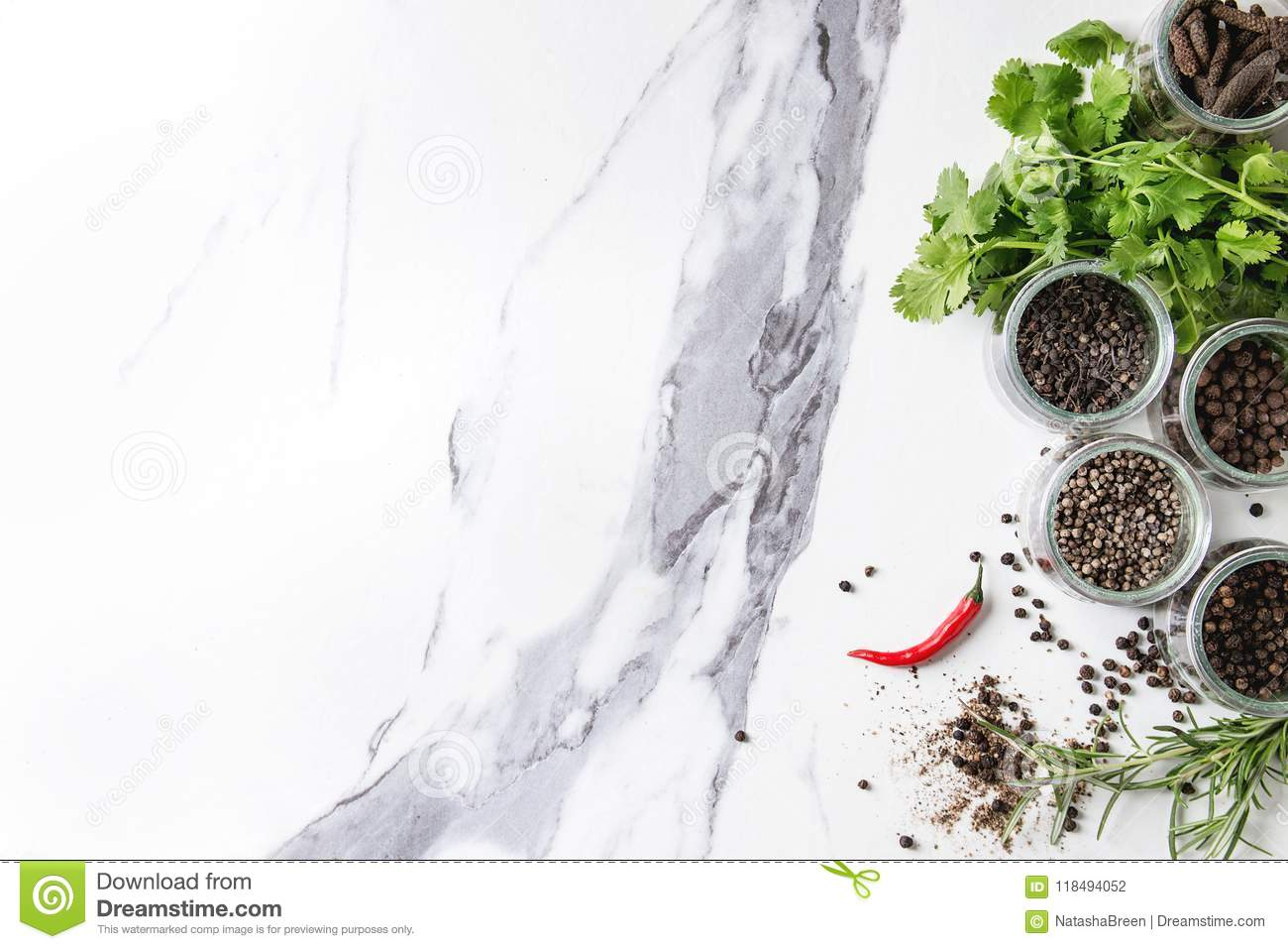 Variety of black peppers