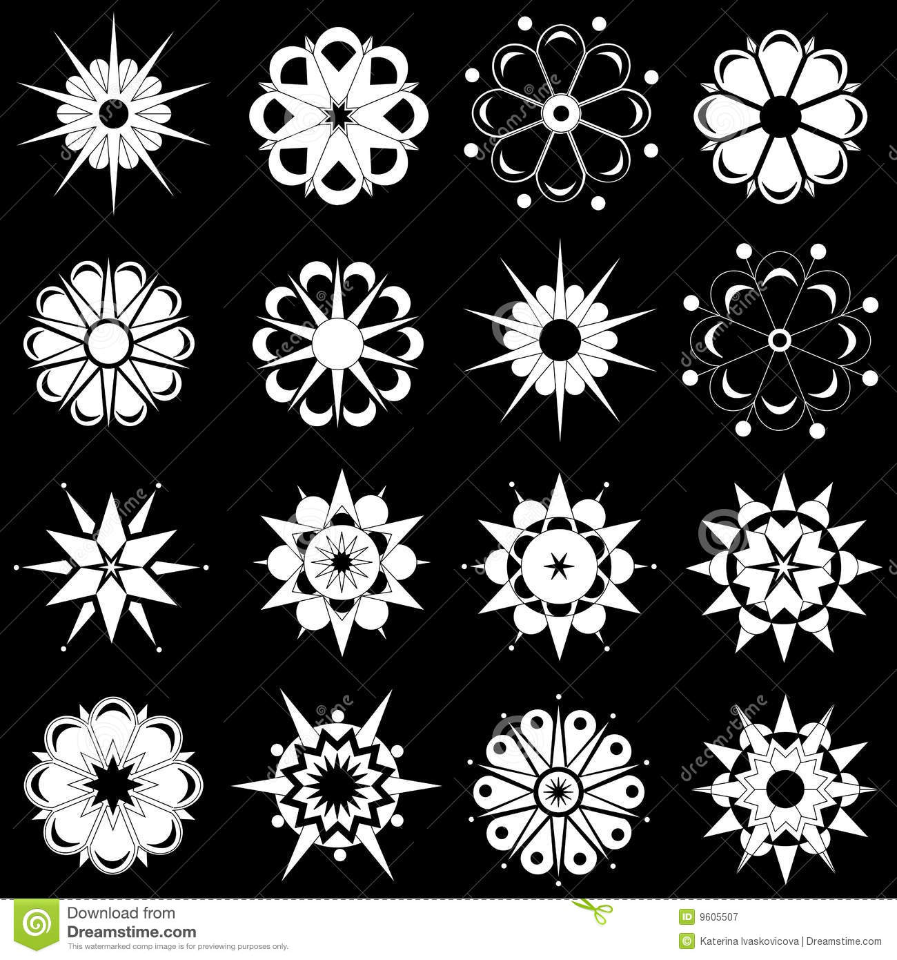 Six Black Flower Design Stock Images: Variety Of Black And White Flower Designs Stock Vector