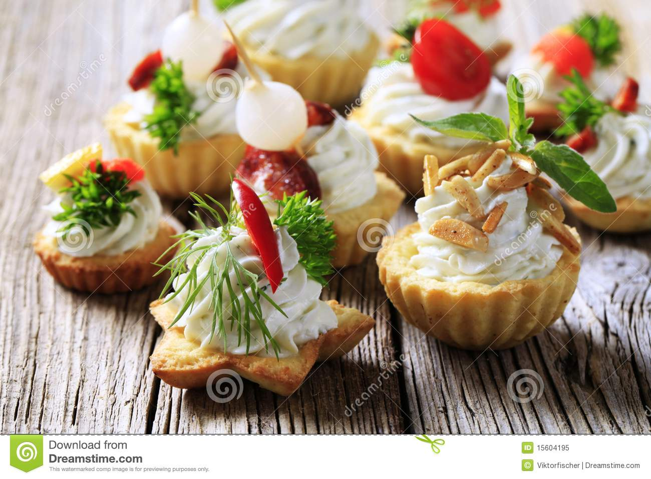 Variety of canapes stock image image of cheese almonds for Canape pastry shells