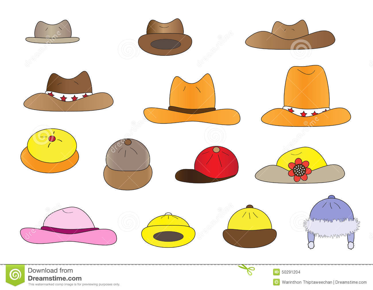 3512a465b9a33 Variety cartoon hats vector illustration set with different hat styles