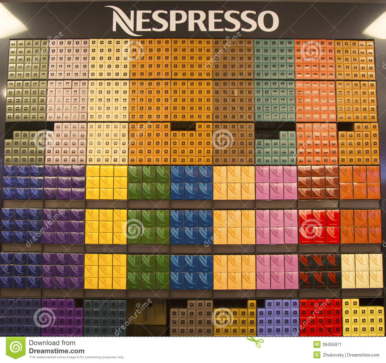 variety of coffee capsules in nespresso store editorial photo image of colombian breakfast. Black Bedroom Furniture Sets. Home Design Ideas
