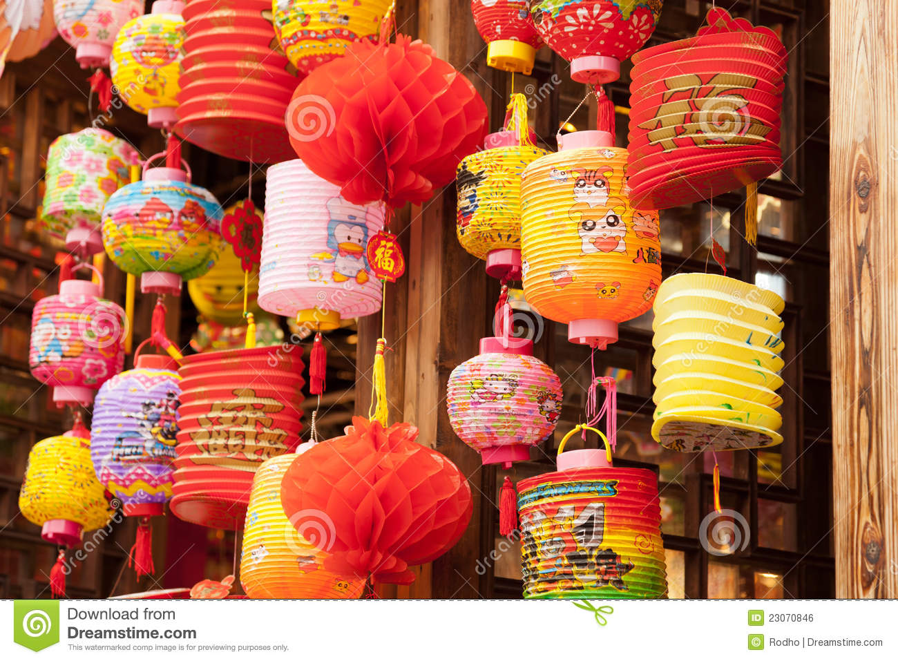 Variety Of Colorful Chinese Paper Lanterns Editorial Photo