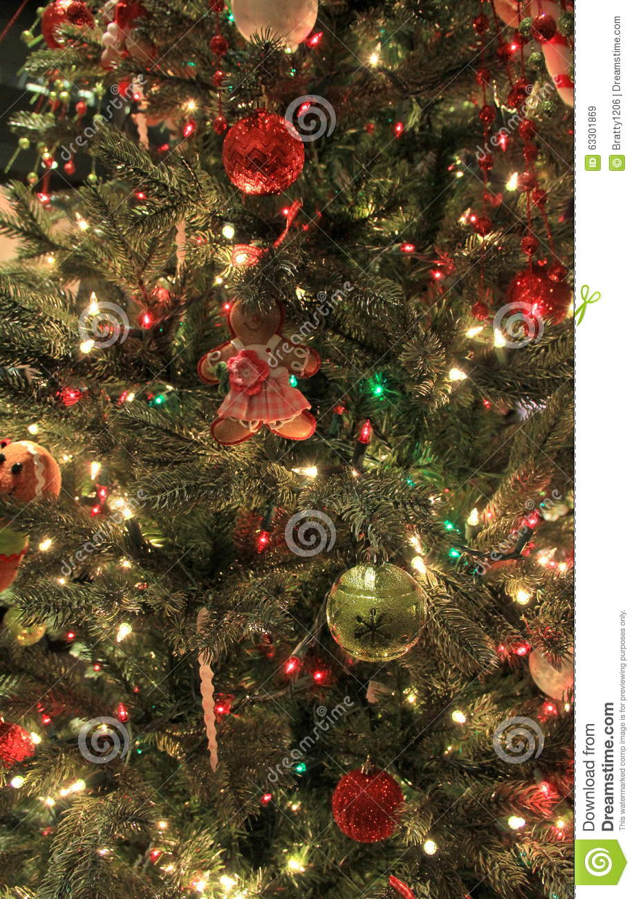 Variety of colorful ornaments on Christmas tree