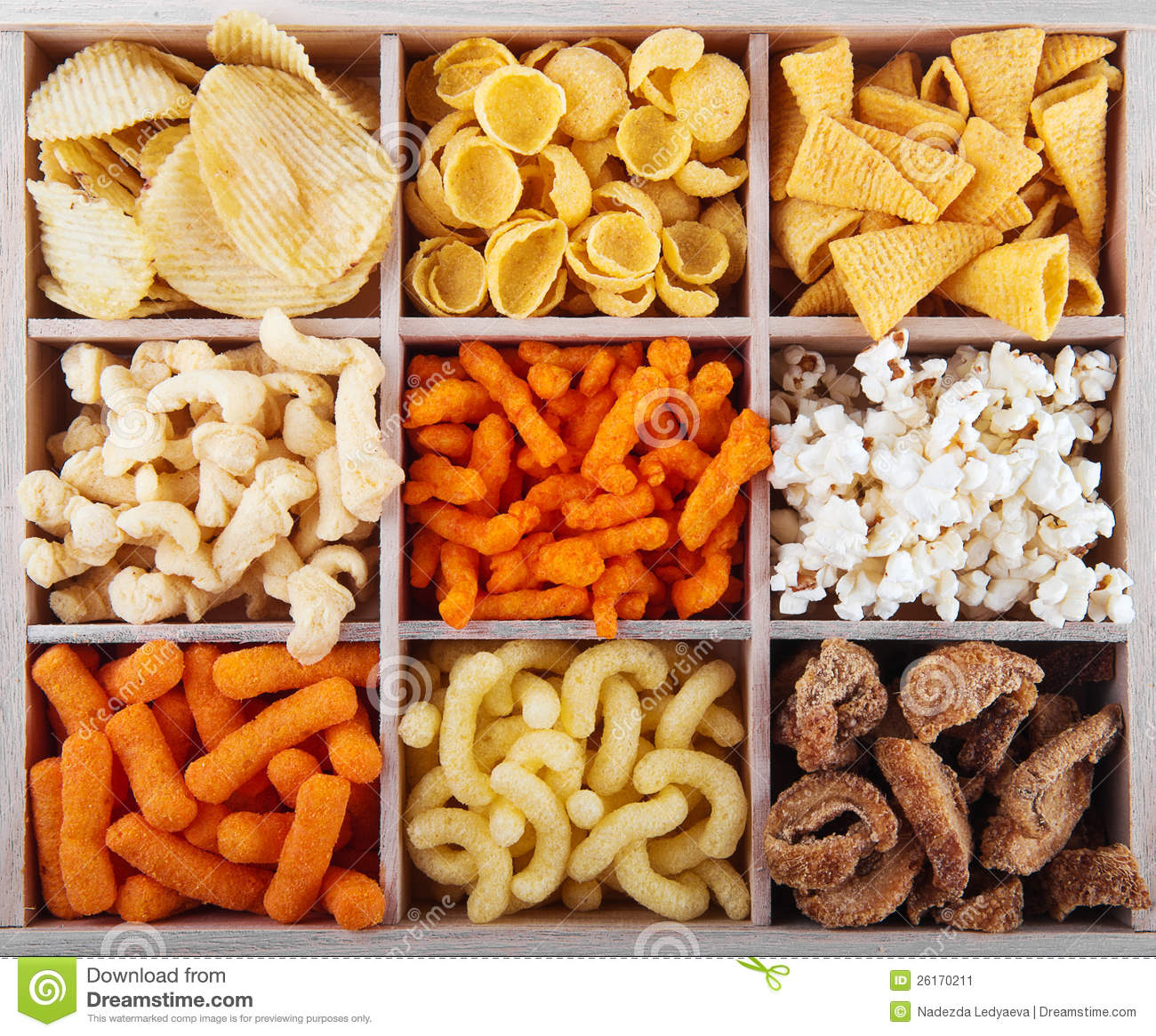 Variety Of Crunchy Snacks Stock Image - Image: 26170211