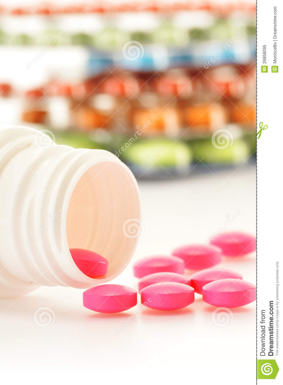 Variety of drug pills and dietary supplements