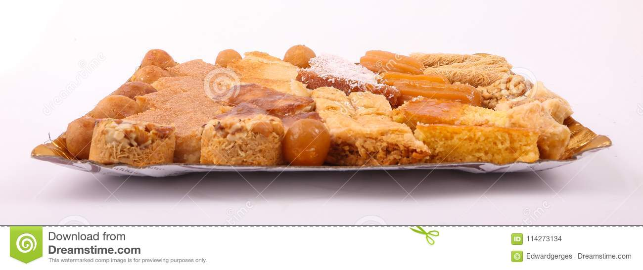 Egyptian Desserts Top View Stock Photo Image Of Background 114273134