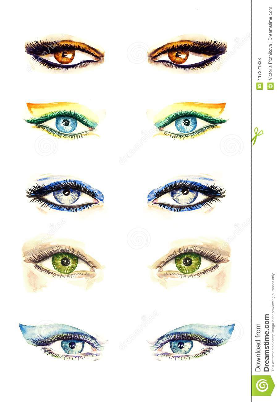 Variety Of Eyes Shapes With Different Makeup Styles Collection From
