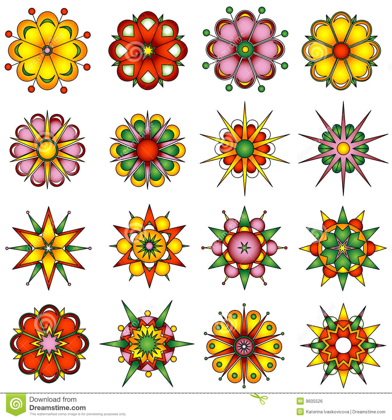 Variety Of Flower Designs Stock Vector Illustration Of